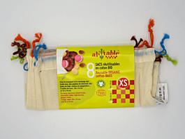 Sáčky z biobavlny XS, 4 ks 20x14 cm + 4 ks 16x16 cm