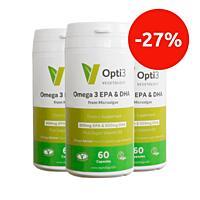 Opti3. Omega - 3 EPA a DHA, s vitamínem D, 60 kapslí, sada 3 ks se slevou 27 %