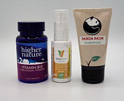 Balíček pro nejmenší - Vegetology Vitashine (vit.D, 20 ml), Higher Nature Vitamín B12, 30 g a Panda Balm - péče o rány 50 ml dárková sada