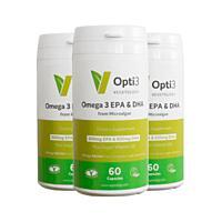 Opti3. Omega - 3 EPA a DHA, s vitamínem D, 60 kapslí, sada 3 ks se slevou 29 %