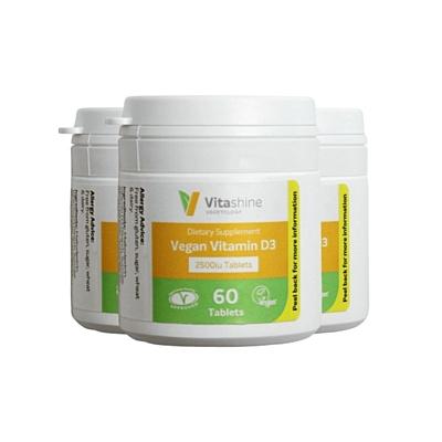 Vitashine tablety. Vitamín D3 2500 IU, 60 tablet, sada 3 ks s dopravou zdarma