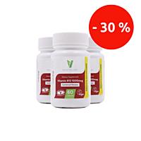 Vitamín B12, 1000 µg, kyanokobalamin, 60 tablet, sada 3 ks se slevou 30 %